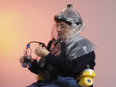 NBC Gas Mask and Protective Hood with Double Blower System